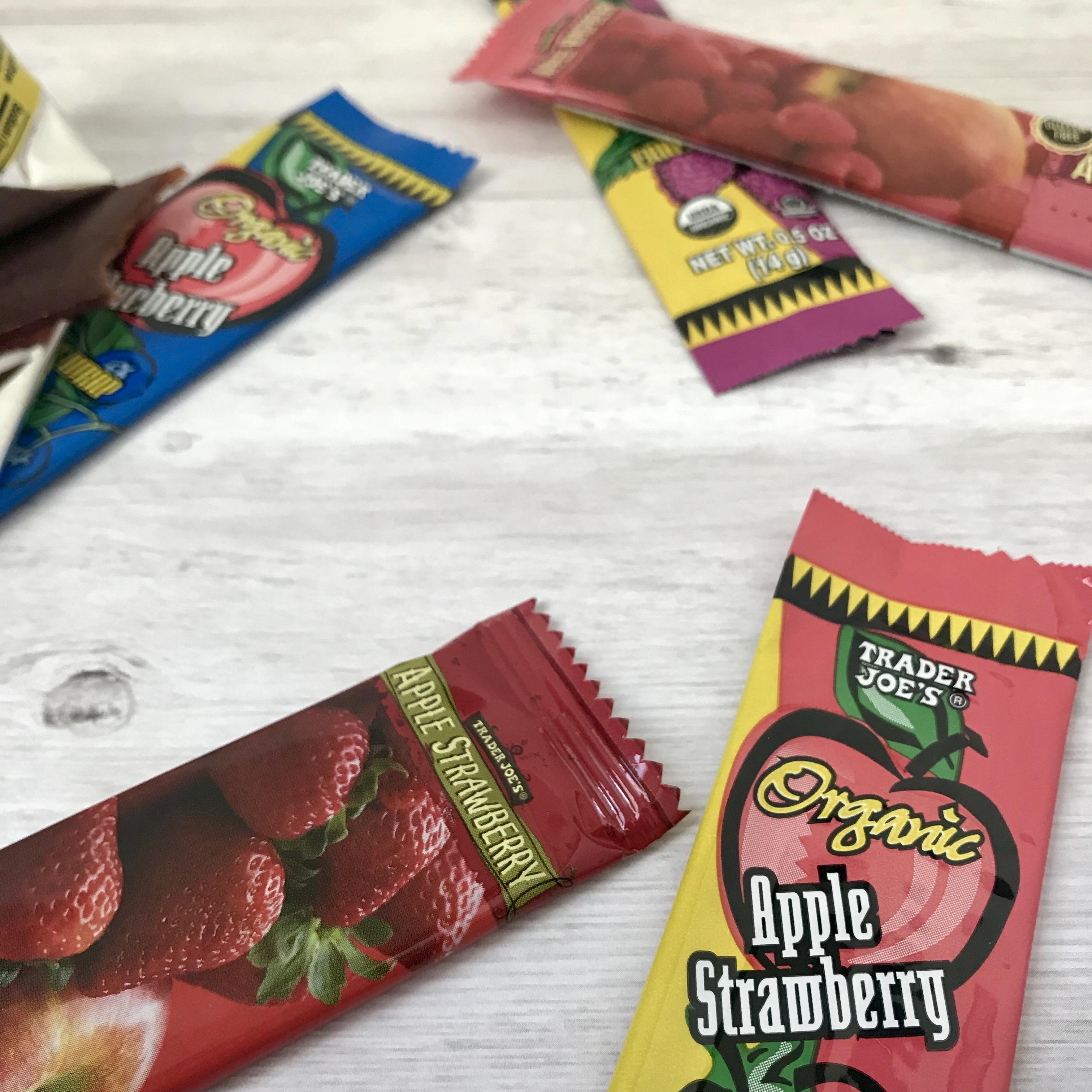 fruit leather, fruit bars, organic fruit strips, trader joe's organic fruit leather