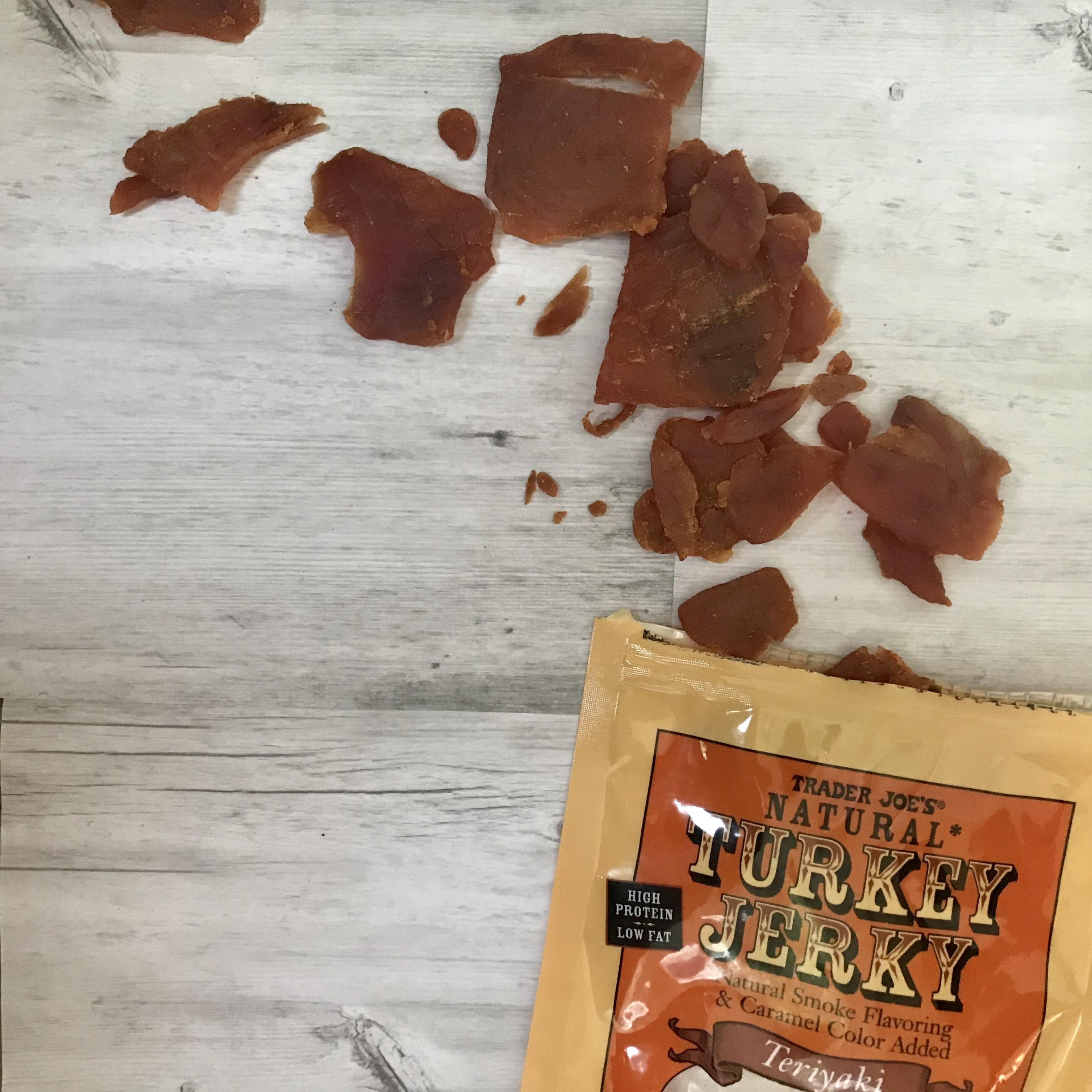 trader joe's teriyaki turkey jerky, turkey jerky, hiking snacks